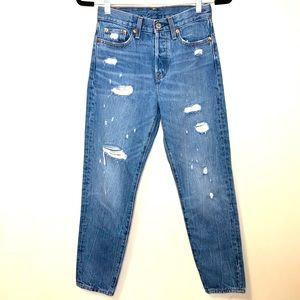 Levi's RARE RED high rise mom jean button fly 25